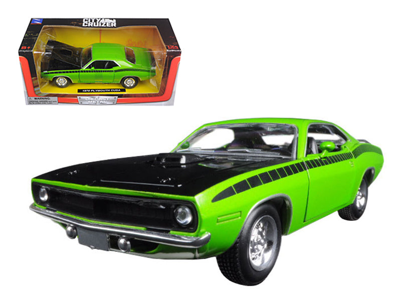 1970 Plymouth Cuda Green with Black 1/24 Diecast Model Car by New Ray - BeTovi&co