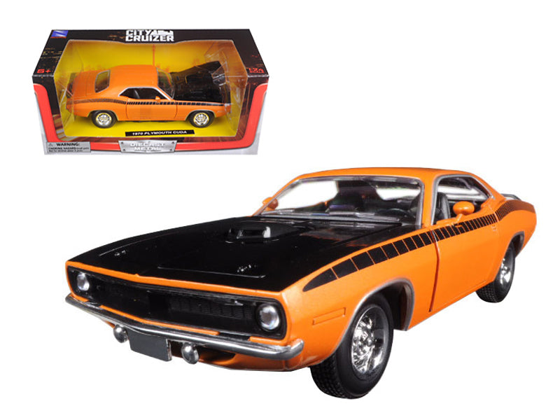 1970 Plymouth Cuda Orange with Black 1/24 Diecast Model Car by New Ray - BeTovi&co