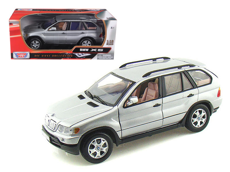 BMW X5 Silver 1/18 Diecast Model Car by Motormax - BeTovi&co