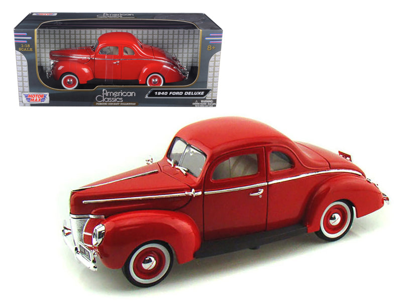 1940 Ford Deluxe Red 1/18 Diecast Model Car by Motormax - BeTovi&co