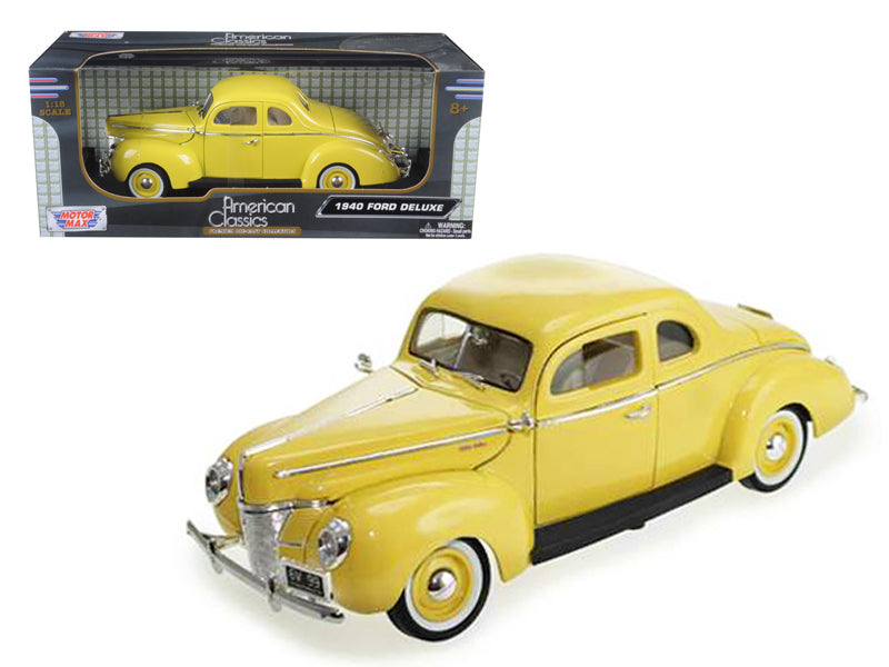 1940 Ford Coupe Deluxe Yellow 1/18 Diecast Car Model by Motormax - BeTovi&co