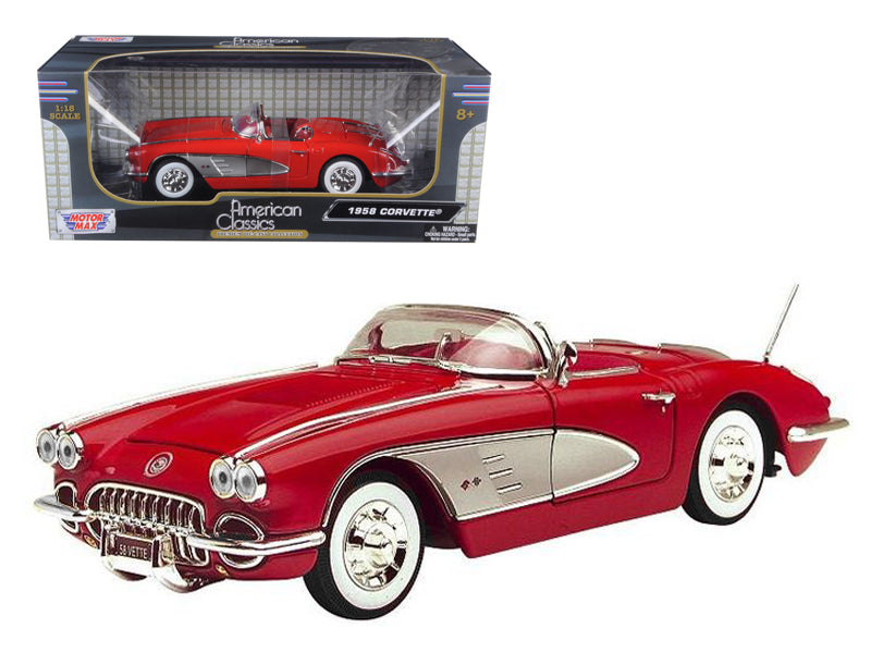 1958 Chevrolet Corvette Convertible Red 1/18 Diecast Model Car by Motormax - BeTovi&co