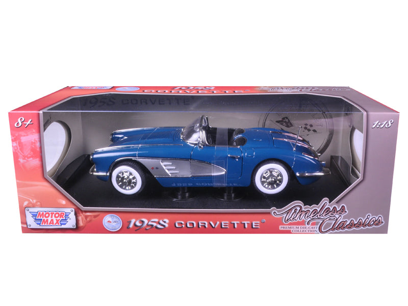 1958 Chevrolet Corvette Turquoise Timeless Classics 1/18 Diecast Model Car by Motormax - BeTovi&co