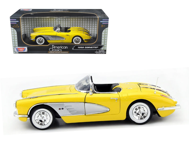 1958 Chevrolet Corvette Yellow 1/18 Diecast Car Model by Motormax - BeTovi&co