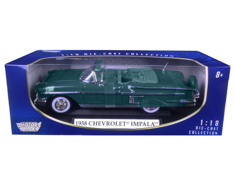 1958 Chevrolet Impala Turquoise 1/18 Diecast Car Model by Motormax - BeTovi&co