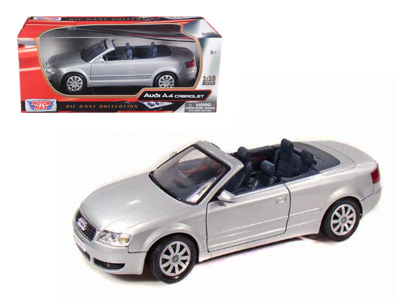 2004 Audi A4 Convertible Silver 1/18 Diecast Model Car by Motormax - BeTovi&co