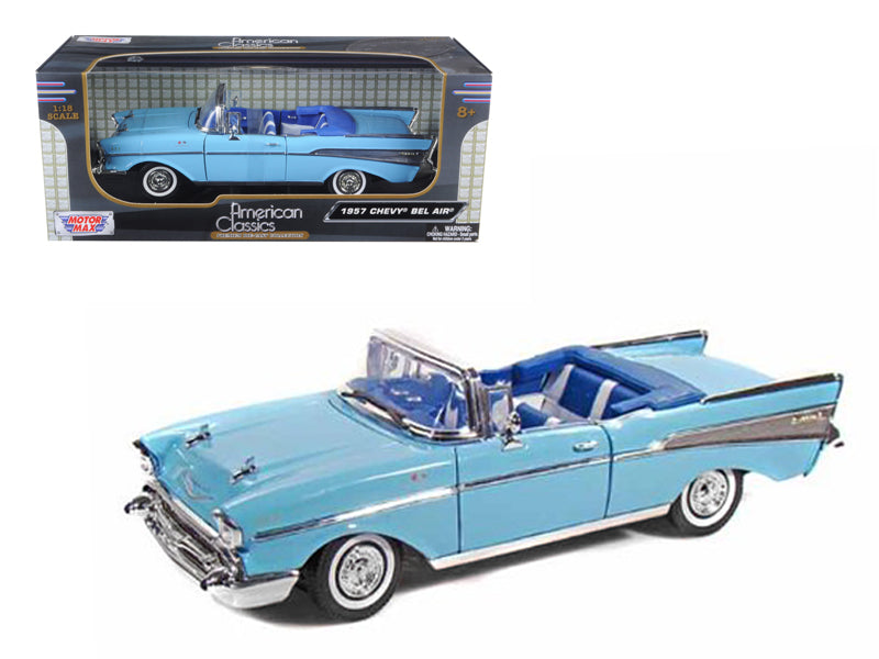 1957 Chevrolet Bel Air Convertible Blue 1/18 Diecast Model Car by Motormax - BeTovi&co