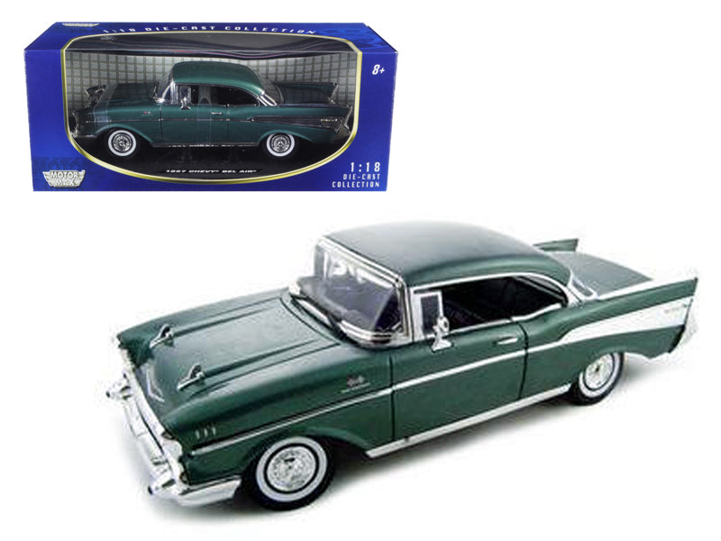 1957 Chevrolet Bel Air Hard Top Green 1/18 Diecast Model Car by Motormax - BeTovi&co