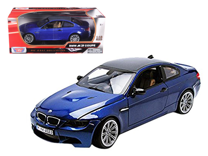 BMW M3 E92 Coupe Blue 1/18 Diecast Car Model by Motormax - BeTovi&co