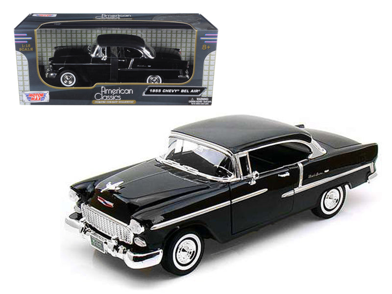 1955 Chevrolet Bel Air Hard Top Black 1/18 Diecast Car Model by Motormax - BeTovi&co