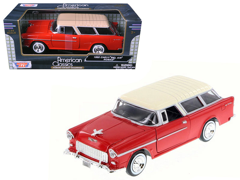 1955 Chevrolet Nomad Red 1/24 Diecast Model Car by Motormax - BeTovi&co