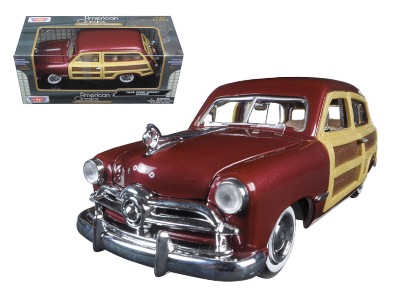 1949 Ford Woody Wagon Burgundy 1/24 Diecast Model Car by Motormax - BeTovi&co