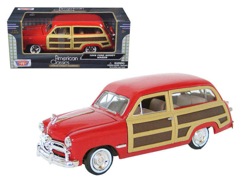 1949 Ford Woody Red 1/24 Diecast Model Car by Motormax - BeTovi&co
