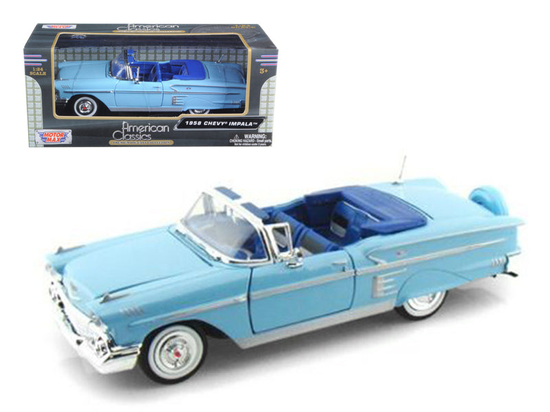 1958 Chevrolet Impala Blue 1/24 Diecast Model Car by Motormax - BeTovi&co