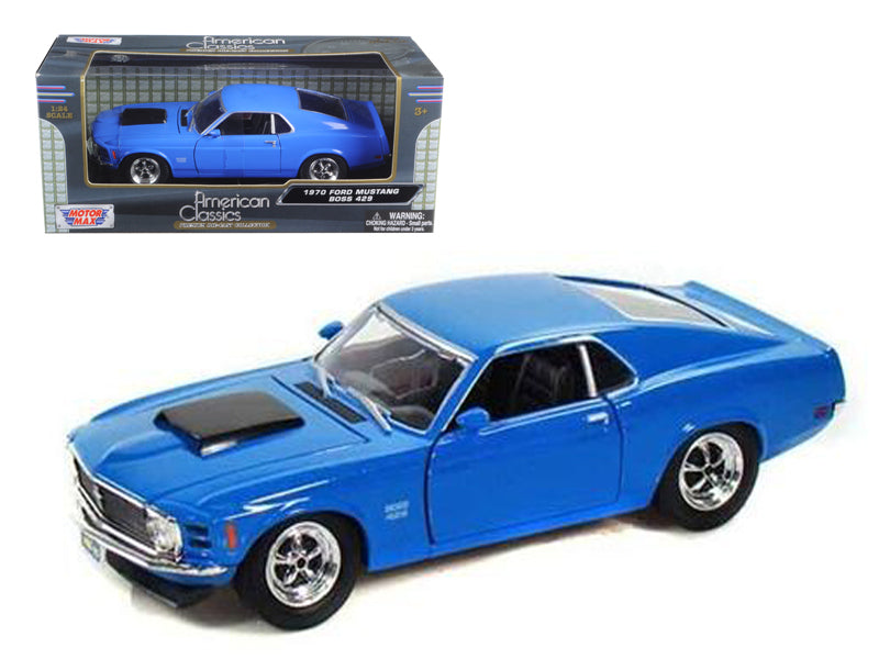 1970 Ford Mustang Boss 429 Blue 1/24 Diecast Model Car by Motormax - BeTovi&co