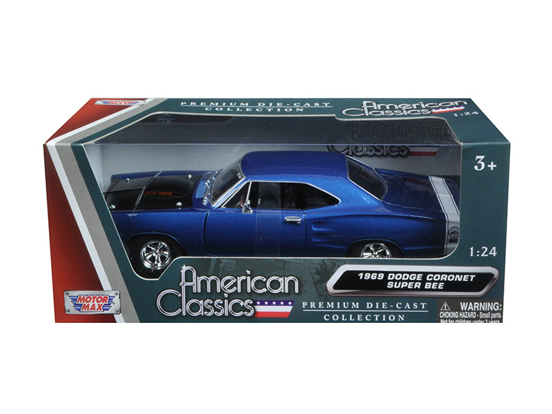 1969 Dodge Coronet Super Bee Blue 1/24 Diecast Model Car by Motormax - BeTovi&co