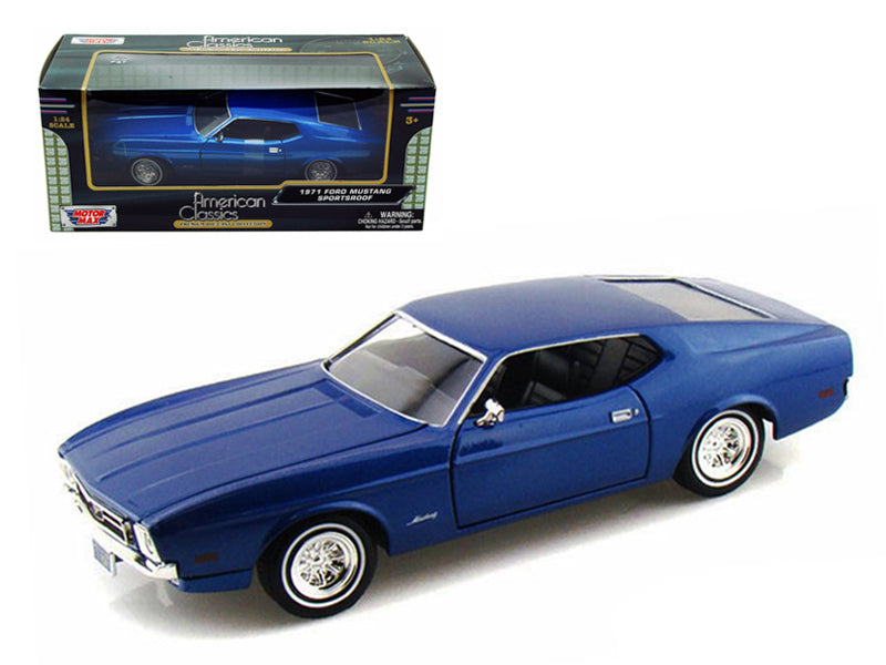 1971 Ford Mustang Sportsroof Blue 1/24 Diecast Model Car by Motormax - BeTovi&co