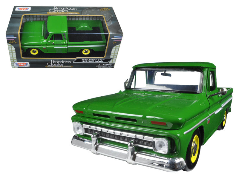 1966 Chevrolet C10 Fleetside Pickup Truck Green 1/24 Diecast Model Car by Motormax - BeTovi&co