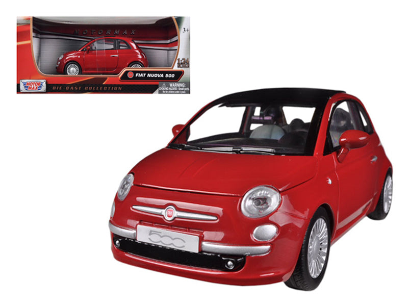 Fiat 500 Nuova Red 1/24 Diecast Car Model by Motormax - BeTovi&co
