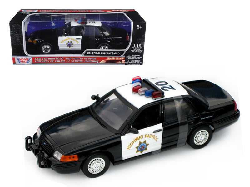 Ford Crown Victoria California Highway Patrol Car CHP Black/White 1/18 Diecast Model Car by Motormax - BeTovi&co