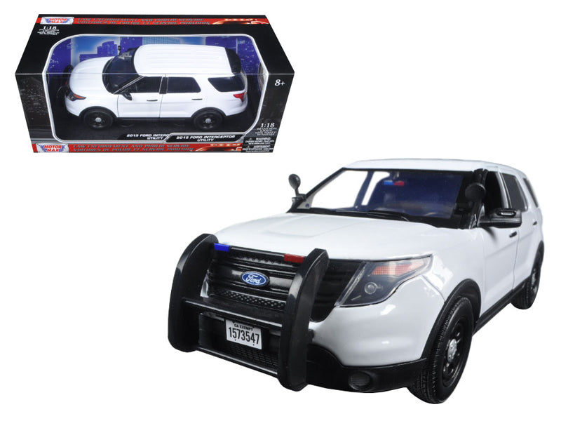 2015 Ford PI Police Utility Interceptor Slick Top White 1/18 Diecast Model Car by Motormax - BeTovi&co