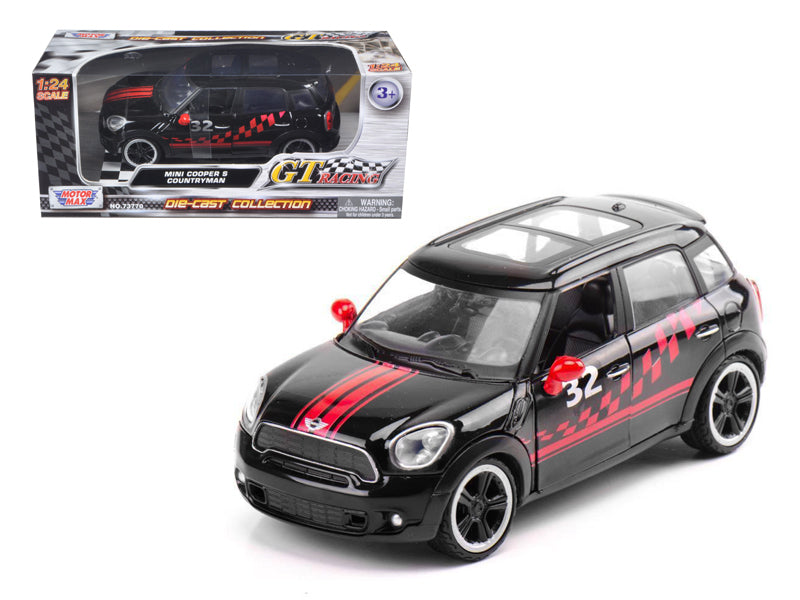 Mini Cooper S Countryman Black Racing 1/24 Diecast Car Model by Motormax - BeTovi&co