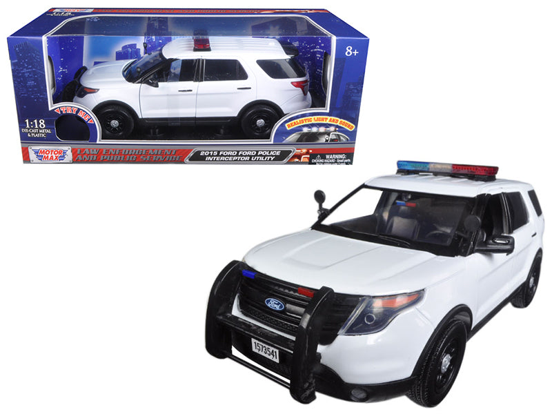 2015 Ford Police Interceptor Utility White with Flashing Light Bar, Front and Rear Lights and 2 Sounds 1/18 Diecast Model Car  by Motormax - BeTovi&co