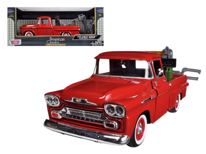 1958 Chevrolet Apache Fleetside Pickup Tow Truck Red 1/24 Diecast Model Car by Motormax - BeTovi&co
