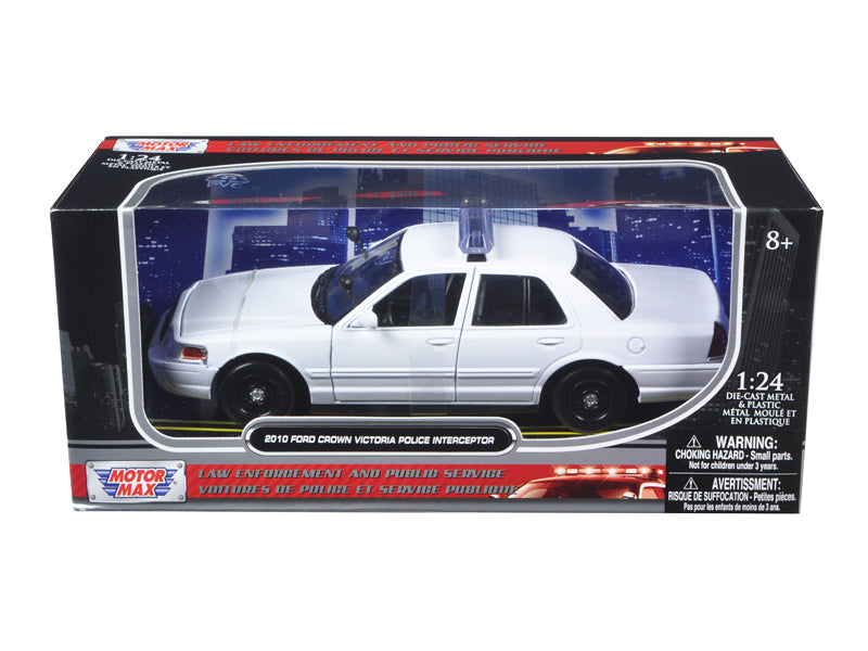 2010 Ford Crown Victoria Unmarked Police Car 1/24 White Diecast Car Model by Motormax - BeTovi&co