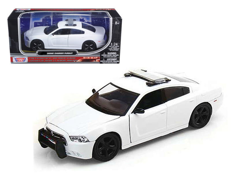 Dodge Charger Pursuit Unmarked White Police Car 1/24 Diecast Model Car by Motormax - BeTovi&co