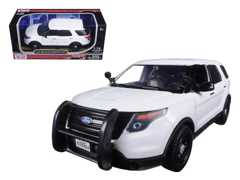 2015 Ford Police Interceptor Utility Car Slick Top White 1/24 Diecast Model Car by Motormax - BeTovi&co