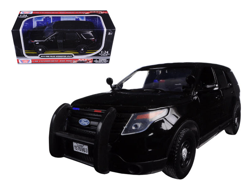 2015 Ford Interceptor Unmarked Police Car Black 1/24 Diecast Model Car by Motormax - BeTovi&co
