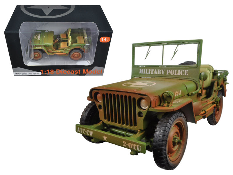 US Army WWII Jeep Vehicle Military Police Green Weathered Version 1/18 Diecast Model Car  by American Diorama - BeTovi&co