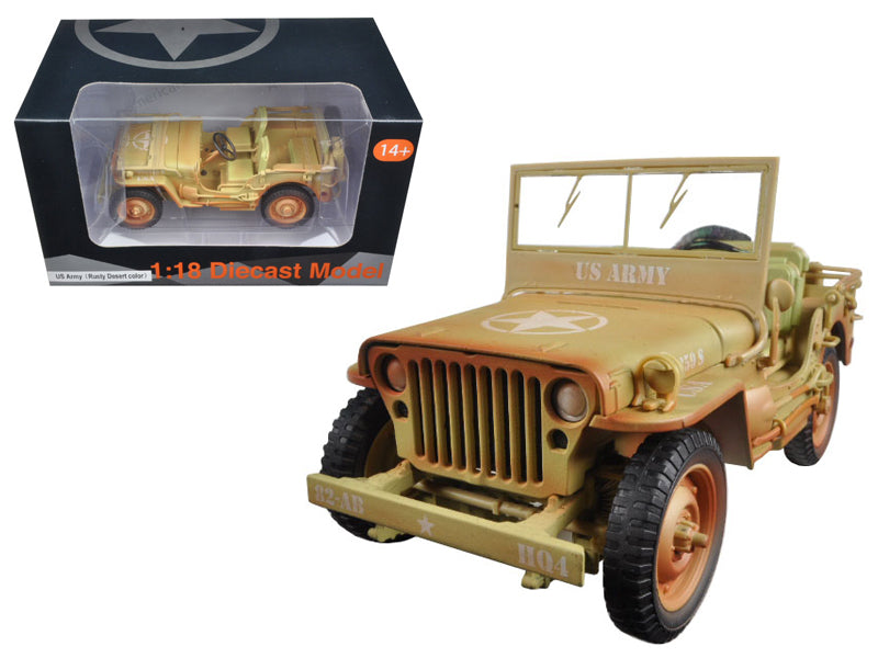 US Army WWII Jeep Vehicle Desert Color Weathered Version 1/18 Diecast Model Car by American Diorama - BeTovi&co