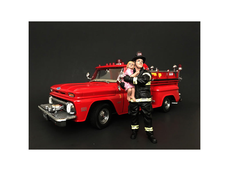 Firefighter Saving Life with Baby Figurine / Figure For 1:18 Models by American Diorama - BeTovi&co