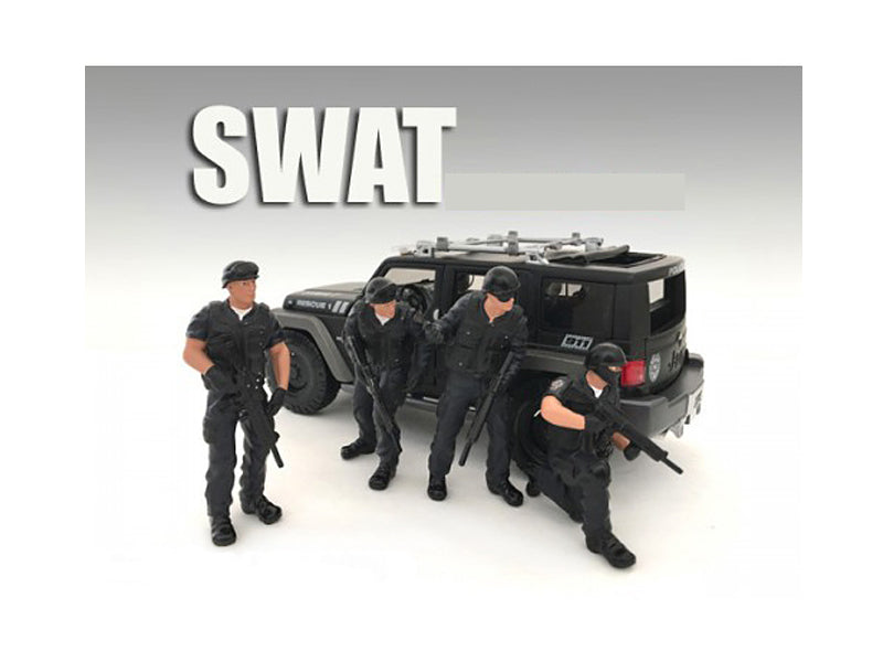 SWAT Team 4 Piece Figure Set For 1:24 Scale Models by American Diorama - BeTovi&co