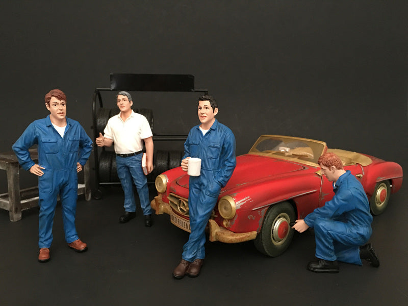 Mechanics 4 Pieces Figure Set For 1:24 Scale Models by American Diorama - BeTovi&co