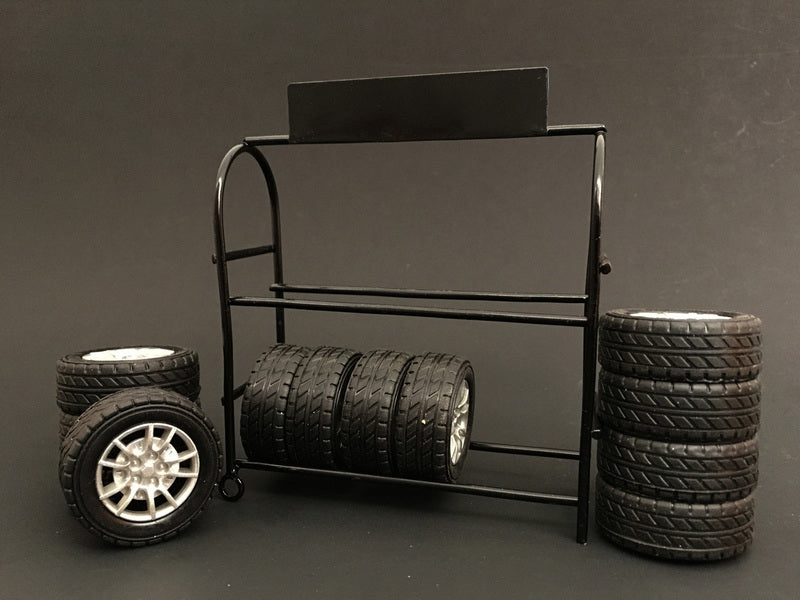 Metal Tire Rack with Rims and Tires For 1:24 Scale Models by American Diorama - BeTovi&co