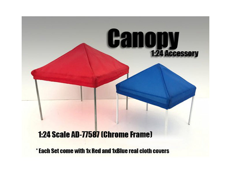 Canopy Accessory Blue and Red with 1 Chrome Frame 1:24 Scale by American Diorama - BeTovi&co