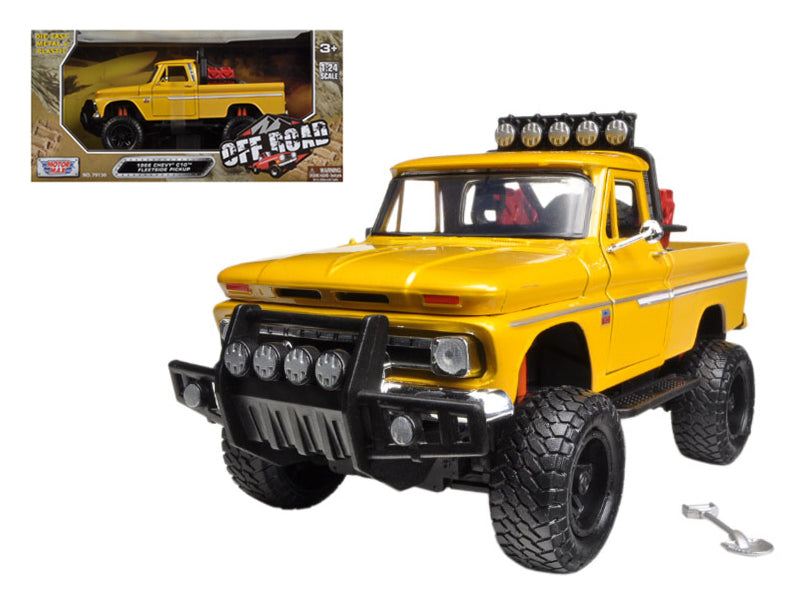 1966 Chevrolet C10 Fleetside Pickup Truck Off Road Yellow 1/24 Diecast Model by Motormax - BeTovi&co