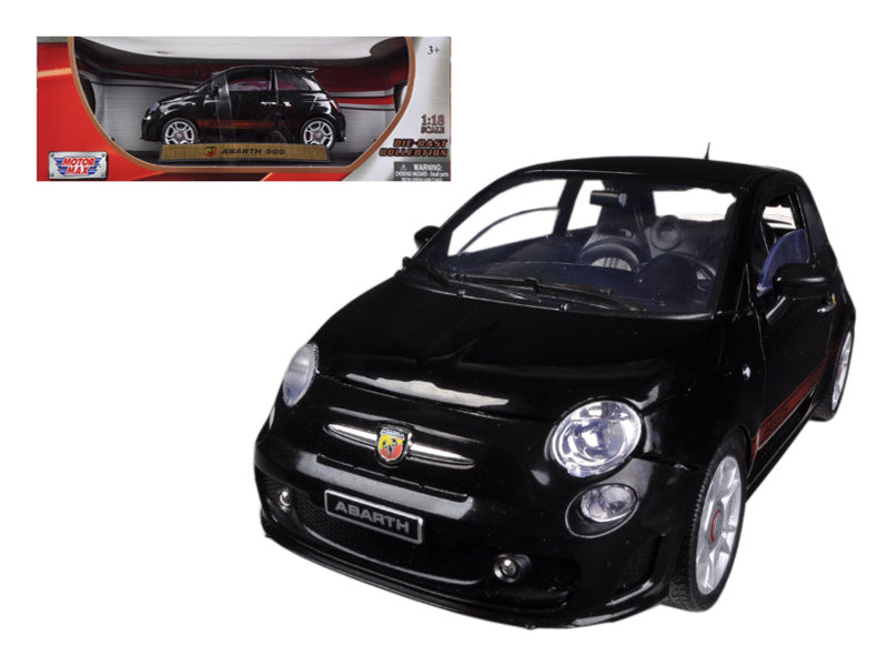 Fiat 500 Abarth Black 1/18 Diecast Car Model by Motormax - BeTovi&co