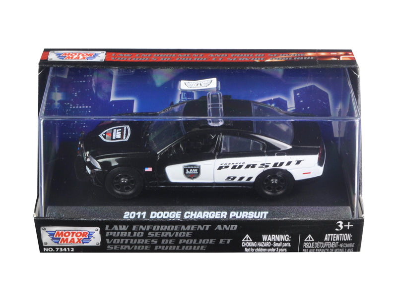 2011 Dodge Charger Pursuit Police Car In Display Showcase 1/43 Diecast Model Car by Motormax - BeTovi&co