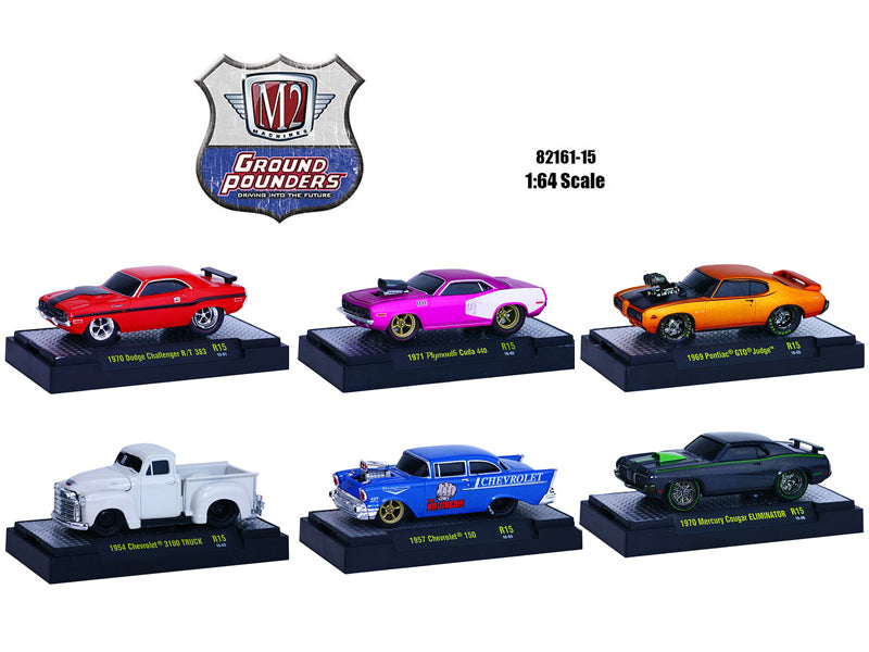 Ground Pounders 6 Cars Set Release 15 IN DISPLAY CASES 1/64 Diecast Model Cars by M2 Machines - BeTovi&co