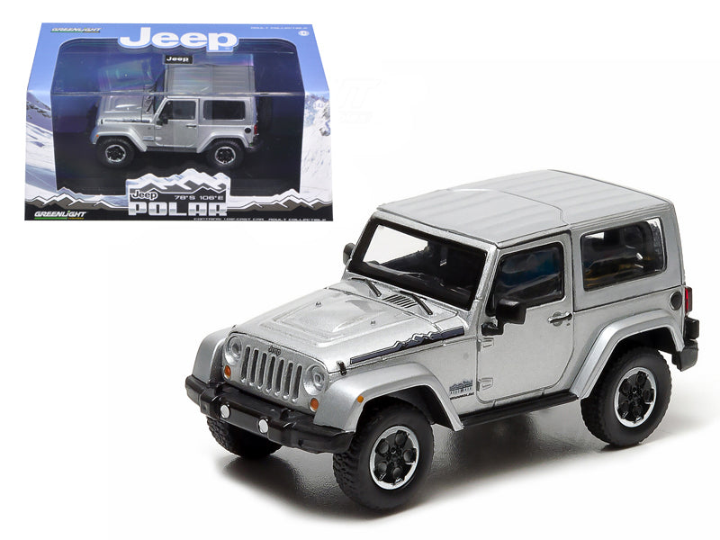 2014 Jeep Wrangler Polar Limited Edition Billet Silver Metallic With Display Showcase 1/43 Diecast Car Model by Greenlight - BeTovi&co