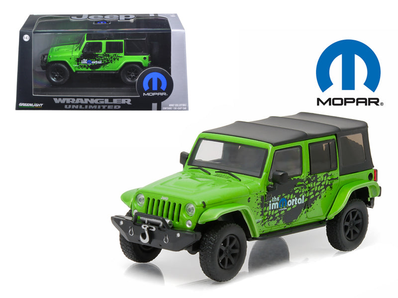 2014 Jeep Wrangler Unlimited Green Mopar Edition The Immortal Tribute With Display Showcase 1/43 Diecast Model Car by Greenlight - BeTovi&co