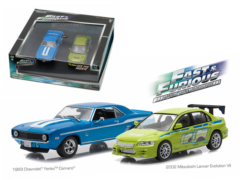 1969 Chevrolet Yenko Camaro and 2002 Mitsubishi Lancer Evolution VII Drag Scene '2 Fast and 2 Furious' Movie (2003) Diorama Set 1/43 Diecast Model Cars by Greenlight - BeTovi&co