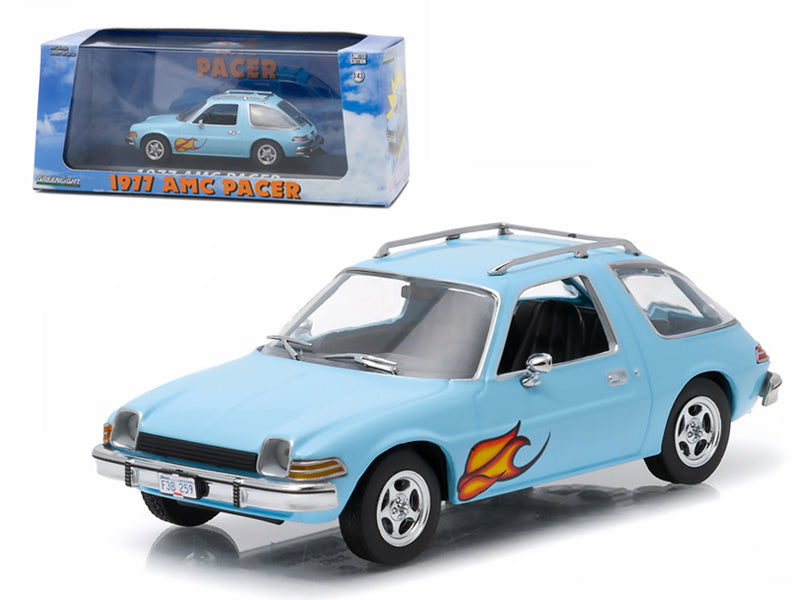 1977 AMC Pacer Light Blue with Flames Greenlight Exclusive 1/43 Diecast Model Car by Greenlight - BeTovi&co
