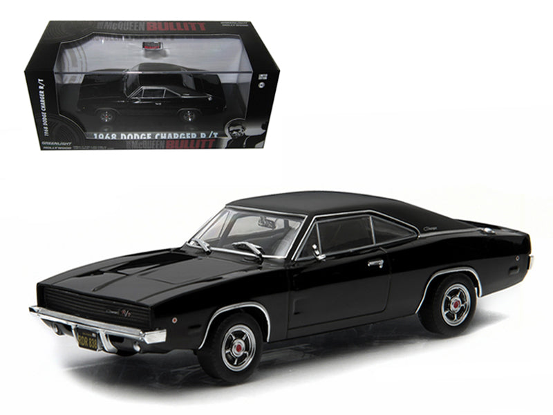 "1968 Dodge Charger Black R/T Steve McQueen \Bullitt"" Movie (1968) 1/43 Diecast Model Car by Greenlight "" - BeTovi&co"