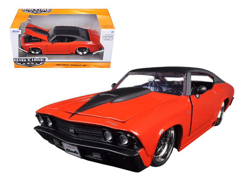 1969 Chevrolet Chevelle SS Orange With Matte Black Top and Hood Scoop 1/24 Diecast Model Car by Jada - BeTovi&co
