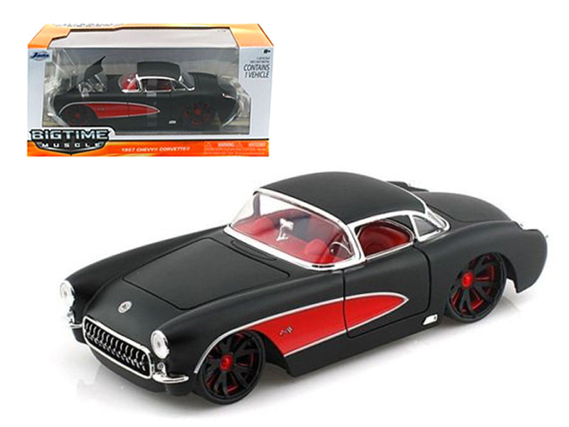 1957 Chevrolet Corvette Hard Top Primered Black With Red 1/24 Diecast Model Car by Jada - BeTovi&co